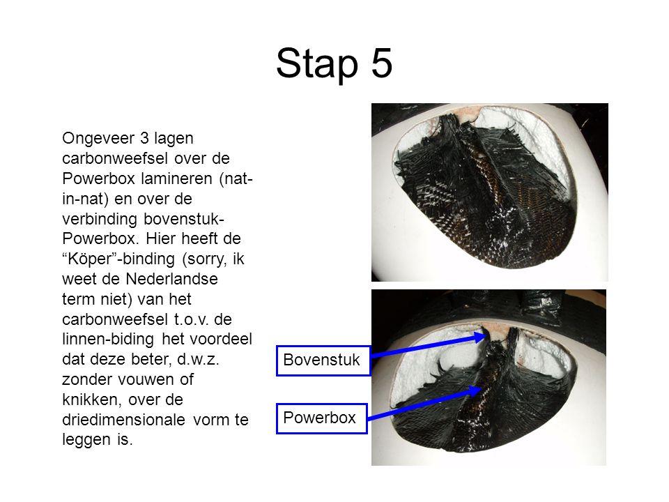 Stap 5 Ongeveer 3 lagen carbonweefsel over de Powerbox lamineren (nat- in-nat) en over de verbinding bovenstuk- Powerbox.