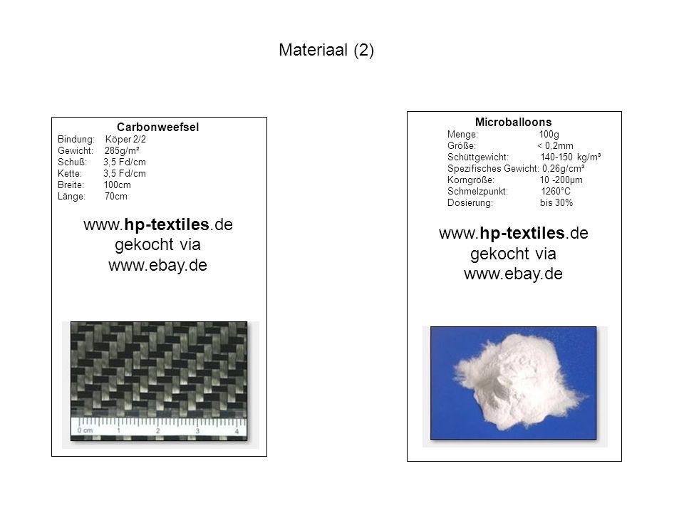 Materiaal (2) Carbonweefsel Bindung: Köper 2/2 Gewicht: 285g/m² Schuß: 3,5 Fd/cm Kette: 3,5 Fd/cm Breite: 100cm Länge: 70cm www.hp-textiles.de gekocht via www.ebay.de Microballoons Menge: 100g Größe: < 0,2mm Schüttgewicht: 140-150 kg/m³ Spezifisches Gewicht: 0,26g/cm³ Korngröße: 10 -200µm Schmelzpunkt: 1260°C Dosierung: bis 30% www.hp-textiles.de gekocht via www.ebay.de