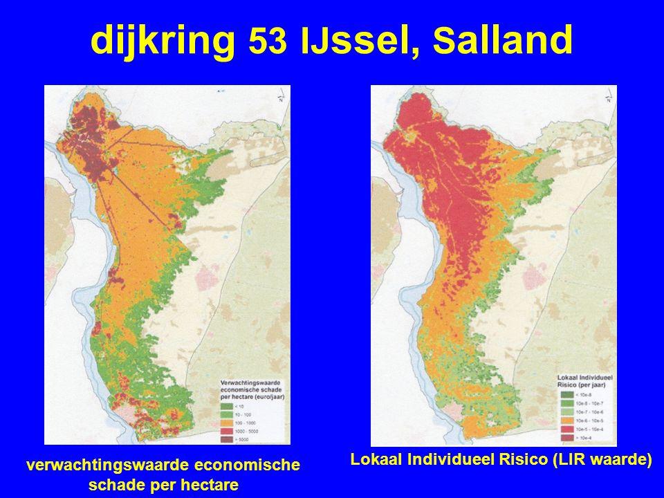 dijkring 53 IJ ssel, S alland verwachtingswaarde economische schade per hectare Lokaal Individueel Risico (LIR waarde)