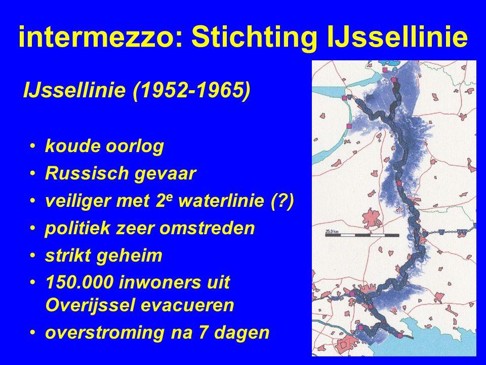 intermezzo: Stichting IJssellinie IJssellinie (1952-1965) koude oorlog Russisch gevaar veiliger met 2 e waterlinie ( ) politiek zeer omstreden strikt geheim 150.000 inwoners uit Overijssel evacueren overstroming na 7 dagen