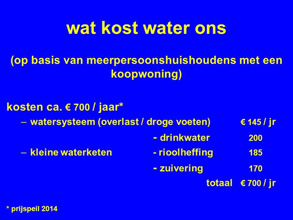 wat kost water ons (op basis van meerpersoonshuishoudens met een koopwoning) kosten ca.