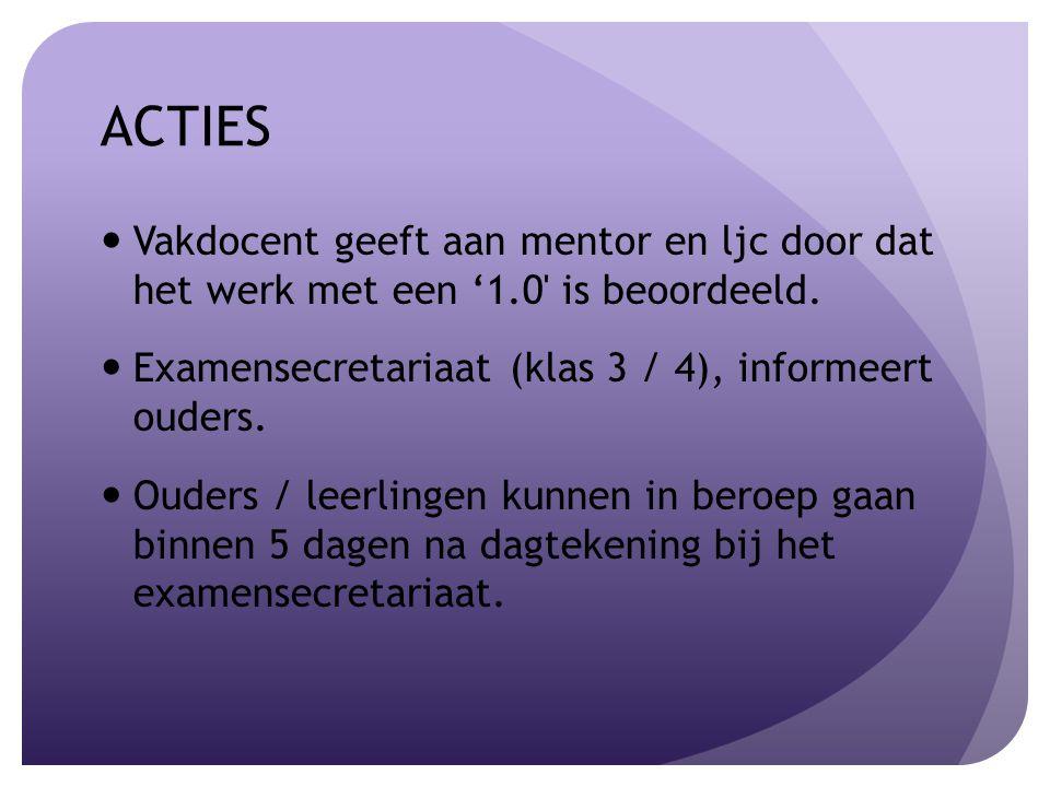ACTIES Vakdocent geeft aan mentor en ljc door dat het werk met een '1.0 is beoordeeld.