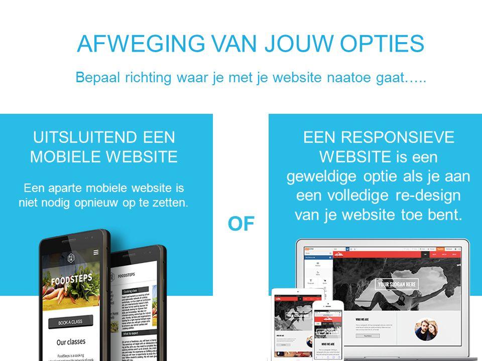 UITSLUITEND EEN MOBIELE WEBSITE Een aparte mobiele website is niet nodig opnieuw op te zetten.