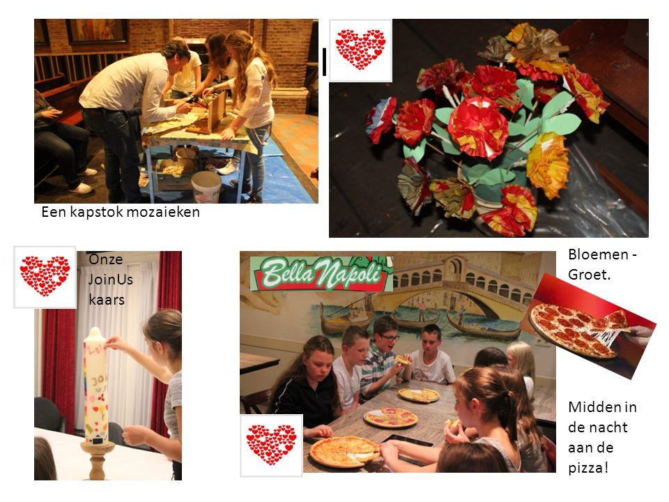 bloe Onze JoinUs kaars Een kapstok mozaieken Bloemen - Groet. Midden in de nacht aan de pizza!