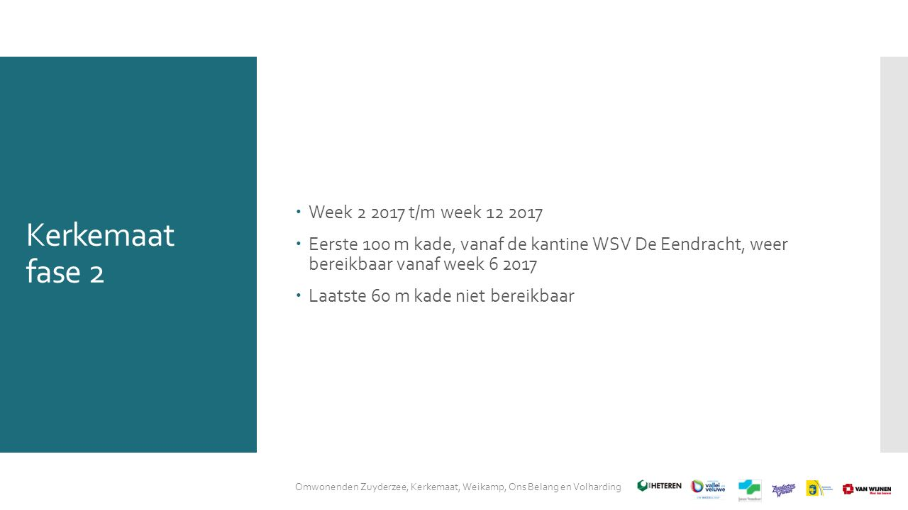 Kerkemaat fase 2  Week 2 2017 t/m week 12 2017  Eerste 100 m kade, vanaf de kantine WSV De Eendracht, weer bereikbaar vanaf week 6 2017  Laatste 60 m kade niet bereikbaar Omwonenden Zuyderzee, Kerkemaat, Weikamp, Ons Belang en Volharding