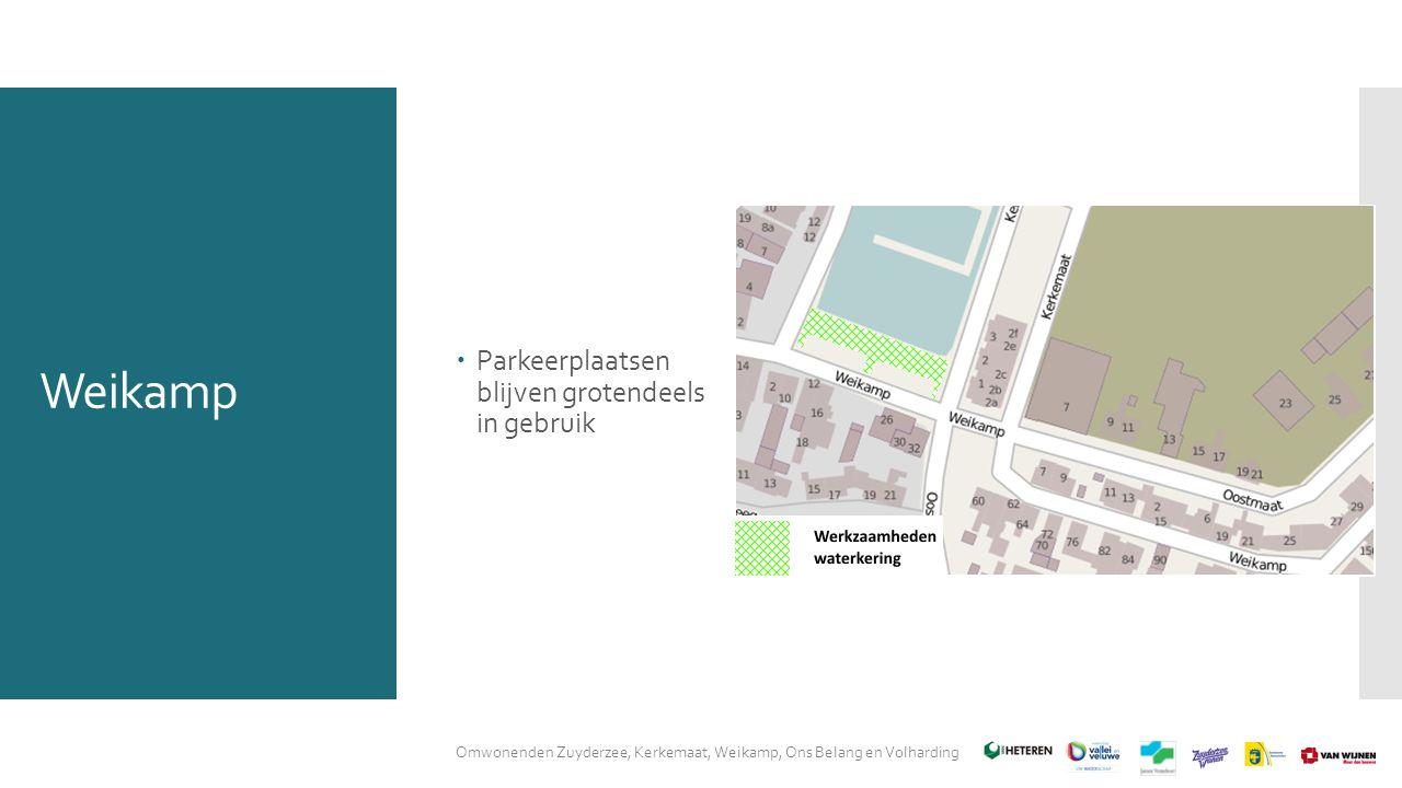 Weikamp Omwonenden Zuyderzee, Kerkemaat, Weikamp, Ons Belang en Volharding  Parkeerplaatsen blijven grotendeels in gebruik