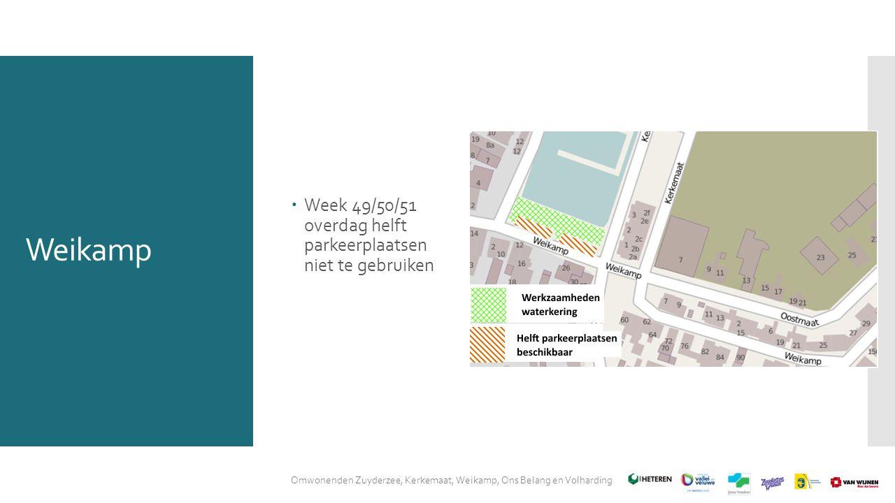 Weikamp  Week 49/50/51 overdag helft parkeerplaatsen niet te gebruiken Omwonenden Zuyderzee, Kerkemaat, Weikamp, Ons Belang en Volharding