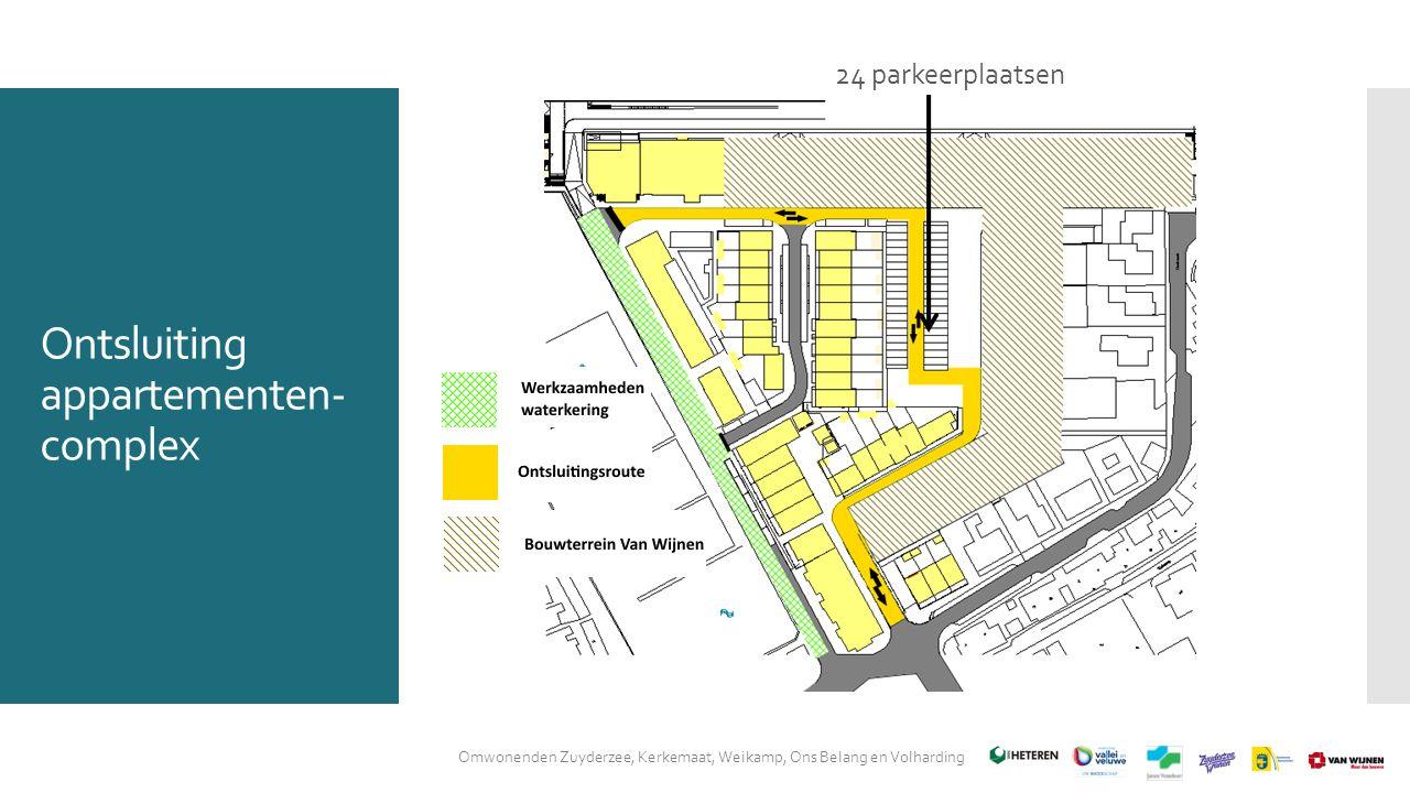 Ontsluiting appartementen- complex Omwonenden Zuyderzee, Kerkemaat, Weikamp, Ons Belang en Volharding 24 parkeerplaatsen