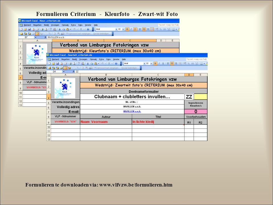 Formulieren Criterium - Kleurfoto - Zwart-wit Foto Formulieren te downloaden via: www.vlfvzw.be/formulieren.htm