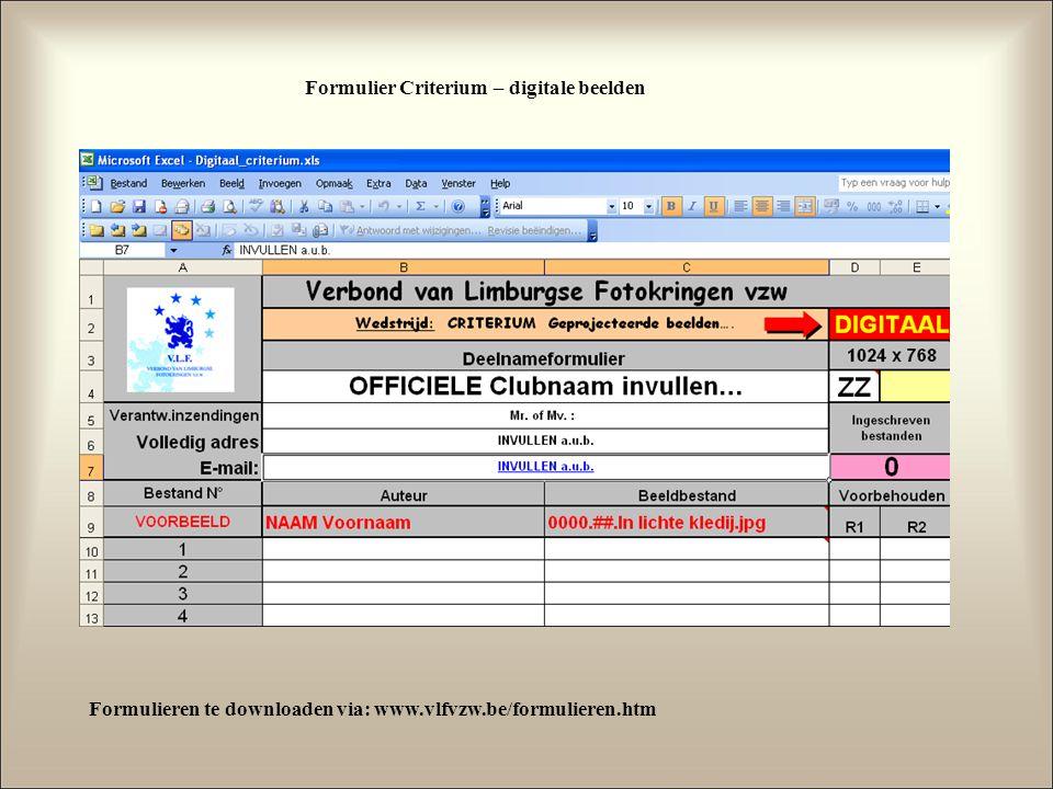 Formulier Criterium – digitale beelden Formulieren te downloaden via: www.vlfvzw.be/formulieren.htm