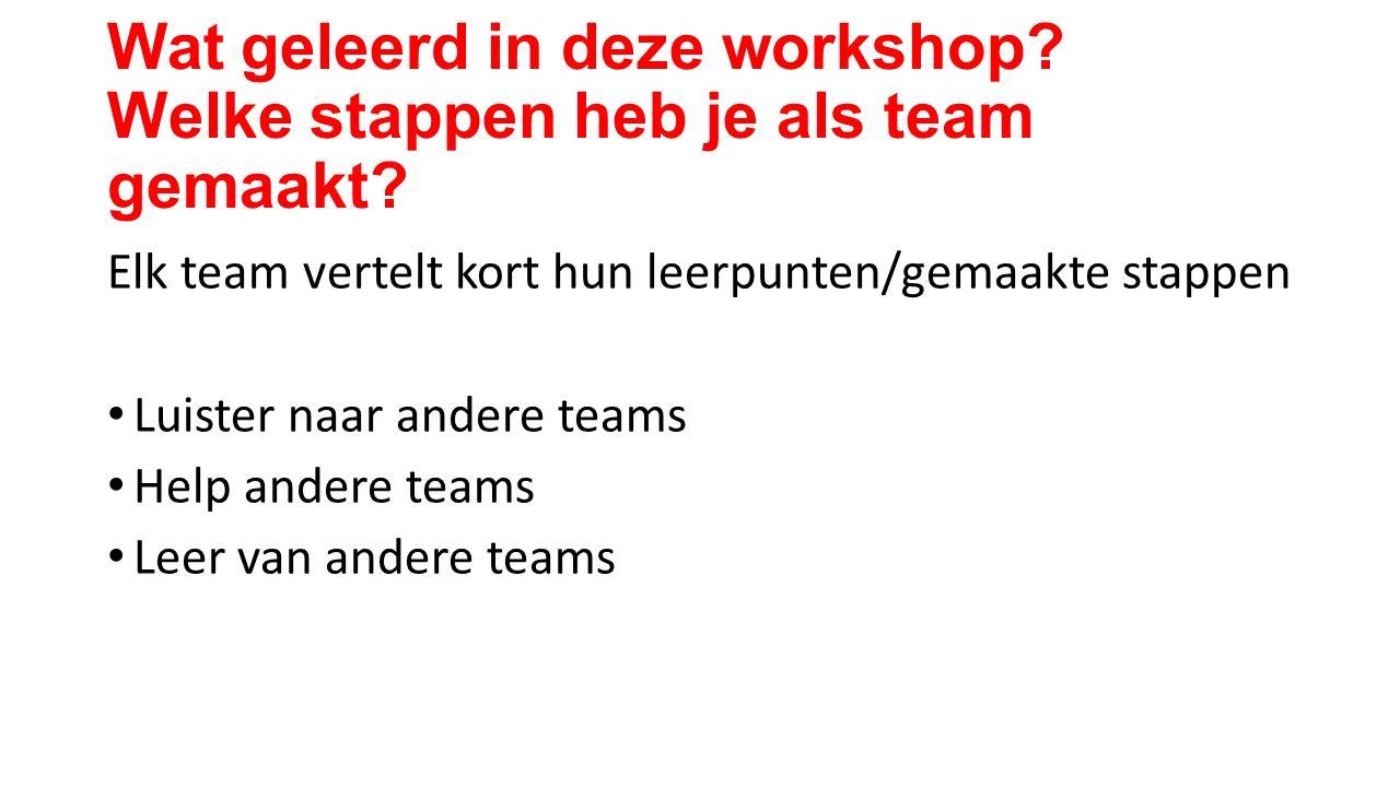 Wat geleerd in deze workshop. Welke stappen heb je als team gemaakt.