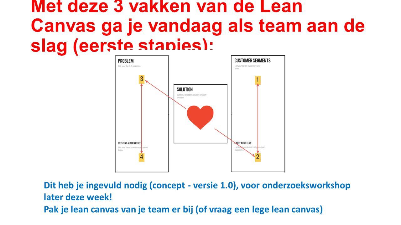 Met deze 3 vakken van de Lean Canvas ga je vandaag als team aan de slag (eerste stapjes): Dit heb je ingevuld nodig (concept - versie 1.0), voor onderzoeksworkshop later deze week.