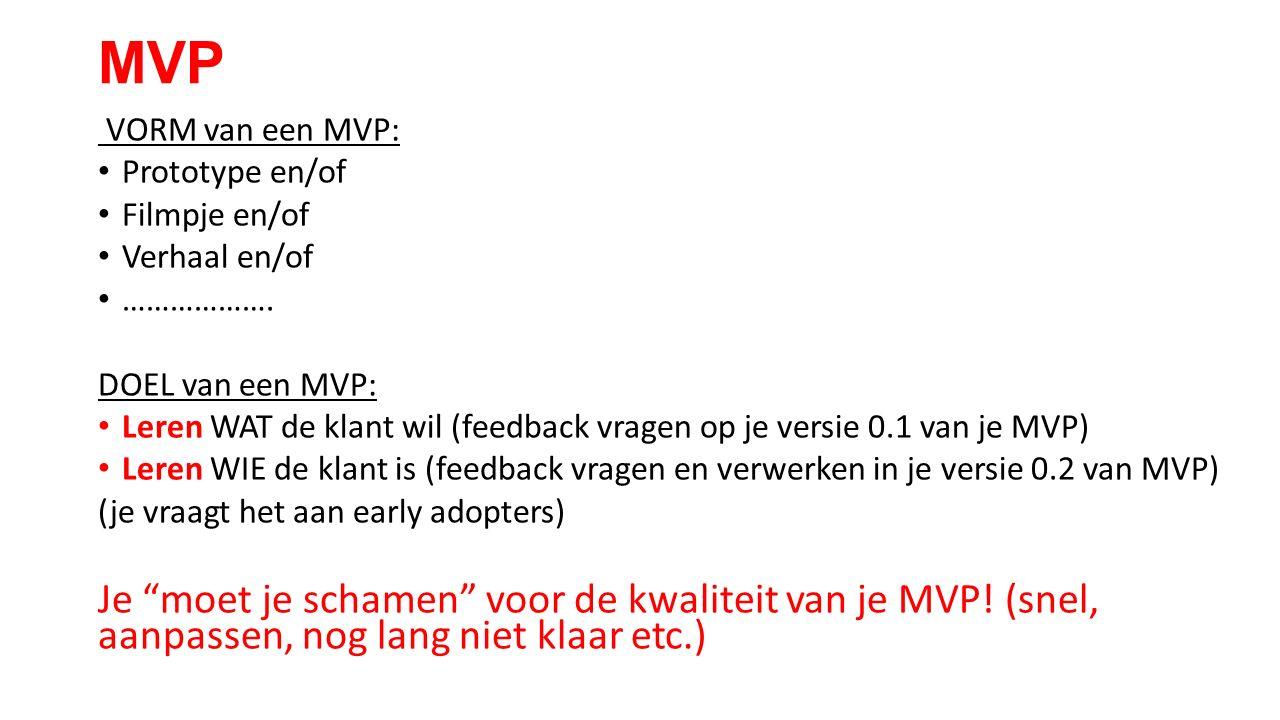 MVP VORM van een MVP: Prototype en/of Filmpje en/of Verhaal en/of ……………….