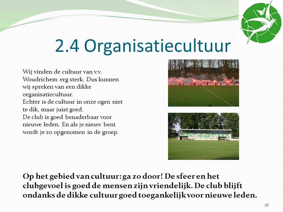 2.4 Organisatiecultuur Wij vinden de cultuur van v.v. Woudrichem erg sterk. Dus kunnen wij spreken van een dikke organisatiecultuur. Echter is de cult