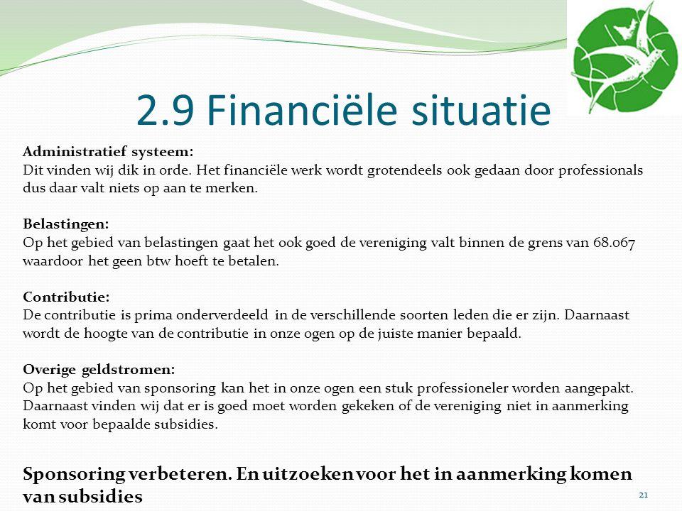 2.9 Financiële situatie Administratief systeem: Dit vinden wij dik in orde. Het financiële werk wordt grotendeels ook gedaan door professionals dus da
