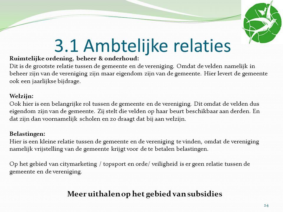 3.1 Ambtelijke relaties Ruimtelijke ordening, beheer & onderhoud: Dit is de grootste relatie tussen de gemeente en de vereniging. Omdat de velden name