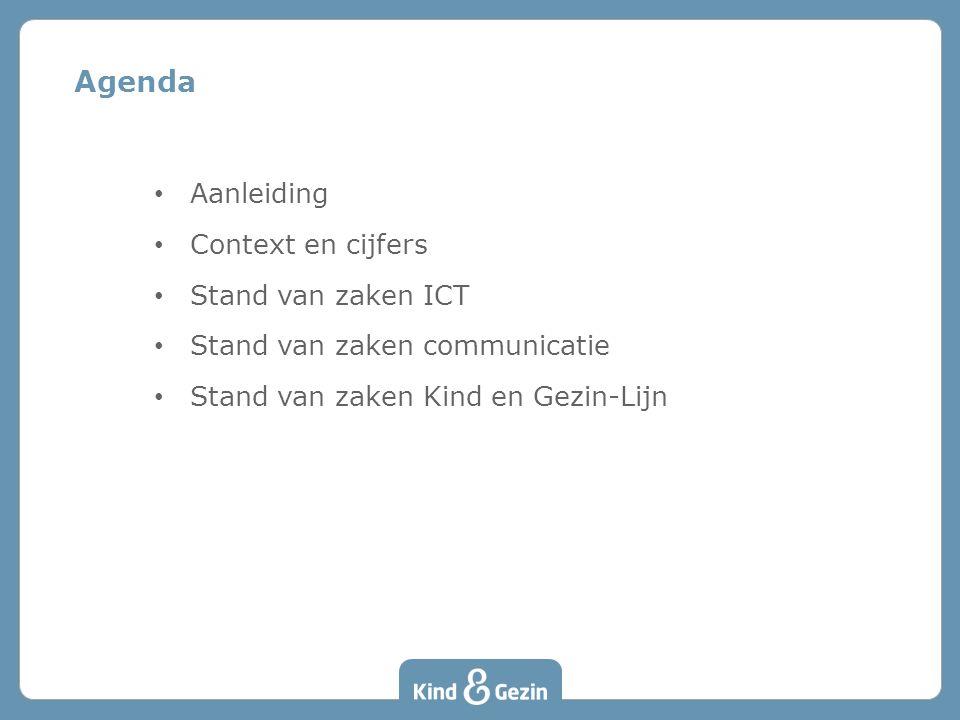 Aanleiding Context en cijfers Stand van zaken ICT Stand van zaken communicatie Stand van zaken Kind en Gezin-Lijn Agenda