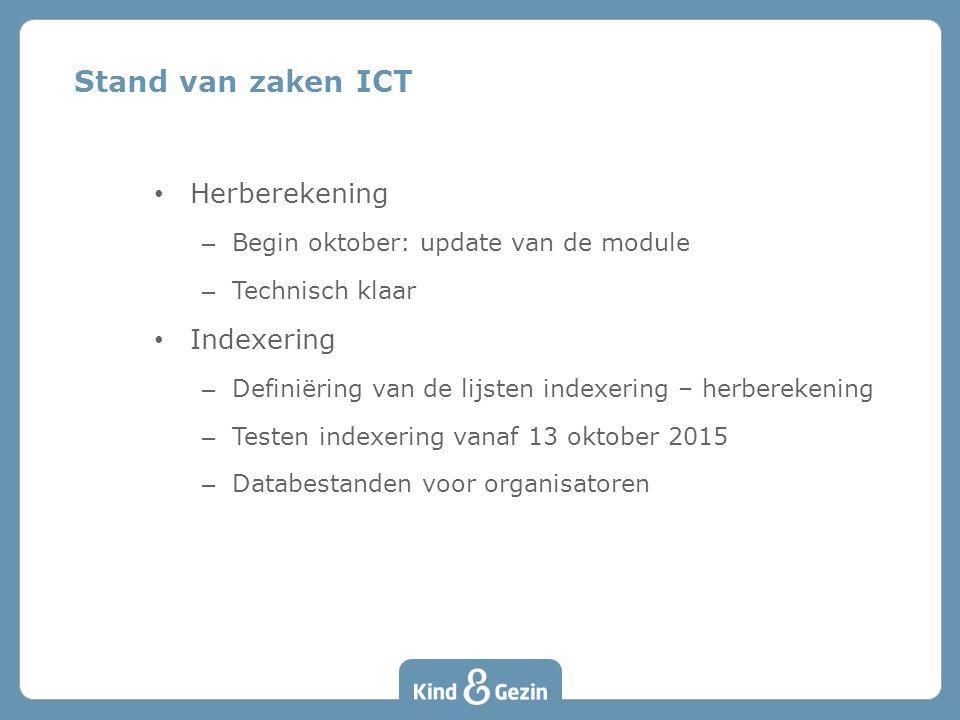 Herberekening – Begin oktober: update van de module – Technisch klaar Indexering – Definiëring van de lijsten indexering – herberekening – Testen indexering vanaf 13 oktober 2015 – Databestanden voor organisatoren Stand van zaken ICT