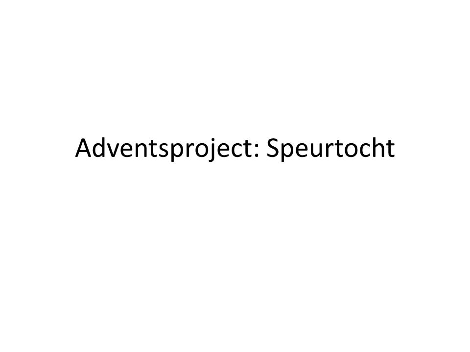 Adventsproject: Speurtocht
