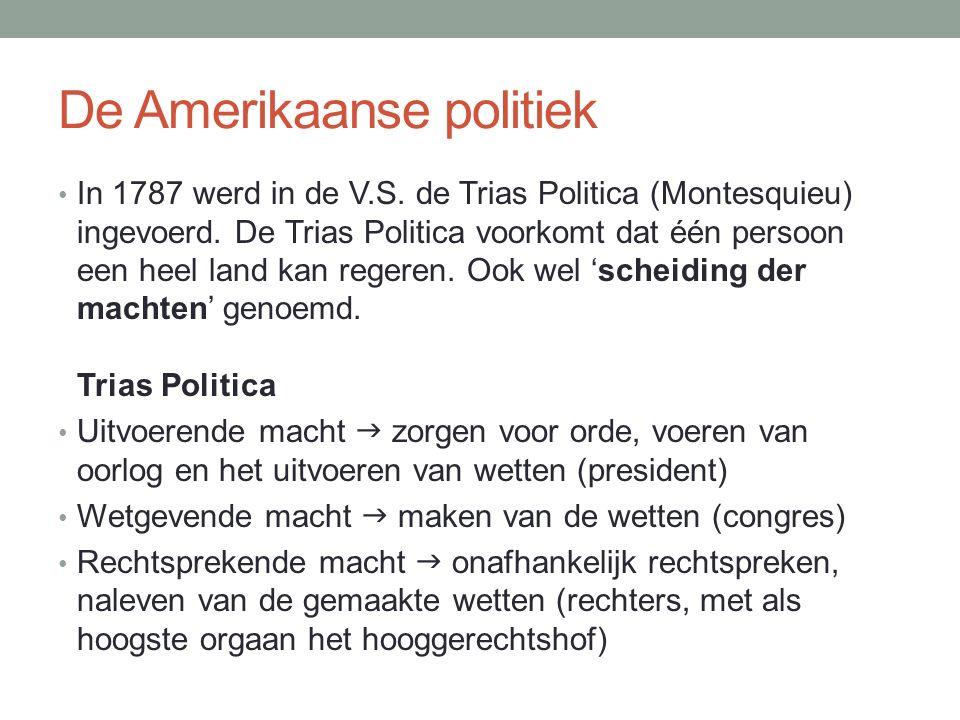 De Amerikaanse politiek In 1787 werd in de V.S. de Trias Politica (Montesquieu) ingevoerd.
