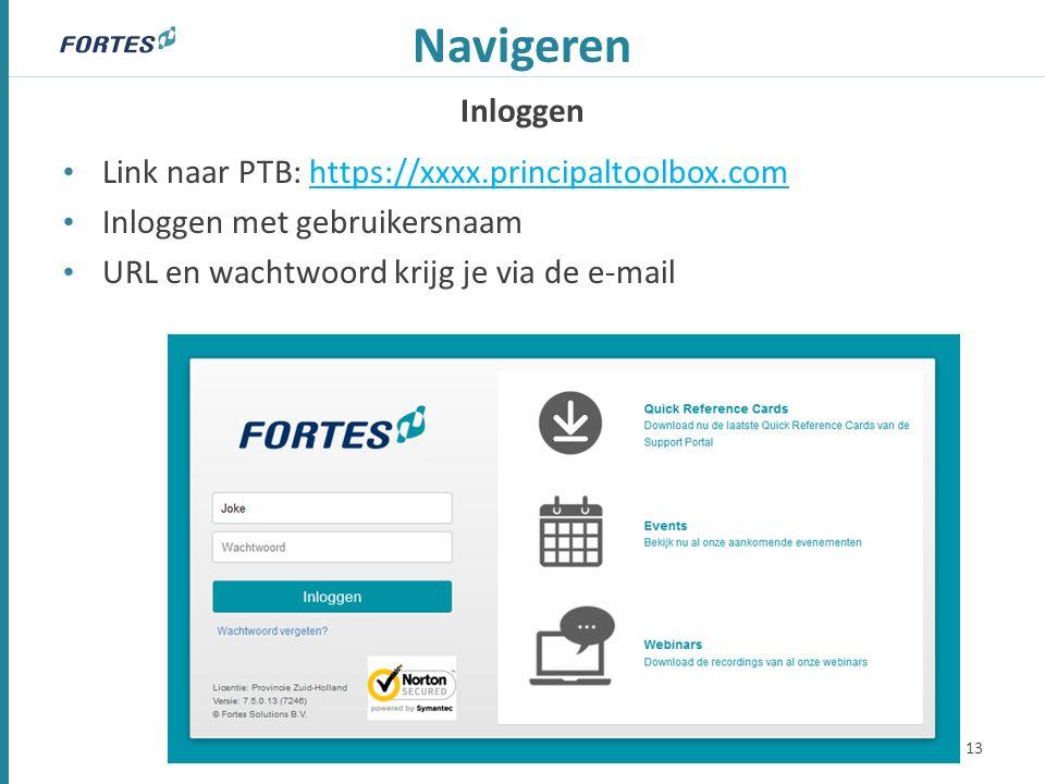 Inloggen Navigeren Link naar PTB: https://xxxx.principaltoolbox.com Inloggen met gebruikersnaam URL en wachtwoord krijg je via de e-mail 13