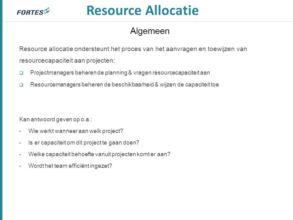 Algemeen Resource allocatie ondersteunt het proces van het aanvragen en toewijzen van resourcecapaciteit aan projecten:  Projectmanagers beheren de p