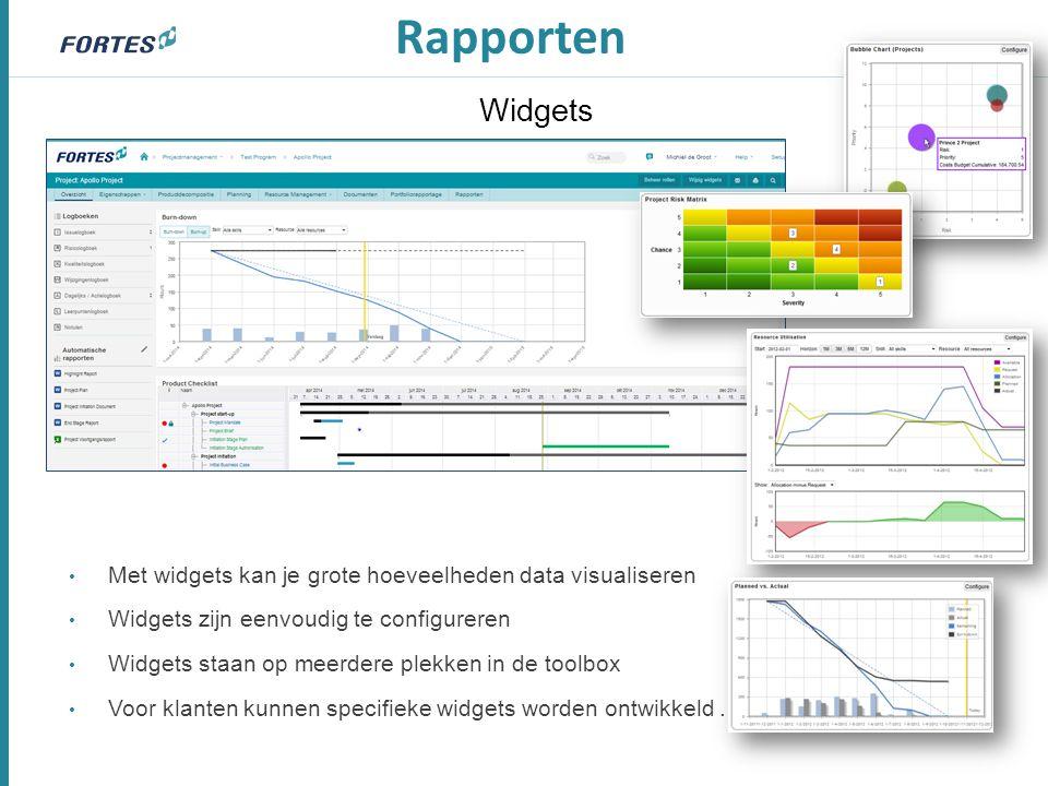 Widgets Met widgets kan je grote hoeveelheden data visualiseren Widgets zijn eenvoudig te configureren Widgets staan op meerdere plekken in de toolbox Voor klanten kunnen specifieke widgets worden ontwikkeld.