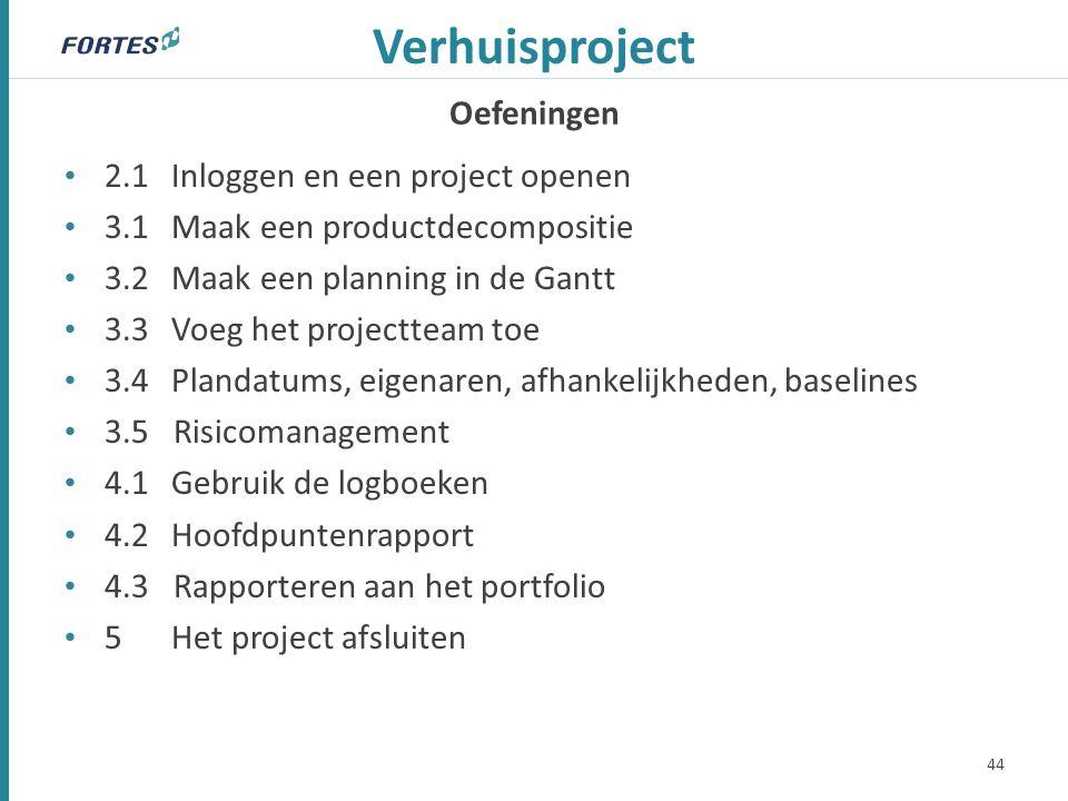 Oefeningen Verhuisproject 2.1Inloggen en een project openen 3.1Maak een productdecompositie 3.2 Maak een planning in de Gantt 3.3 Voeg het projectteam toe 3.4Plandatums, eigenaren, afhankelijkheden, baselines 3.5 Risicomanagement 4.1Gebruik de logboeken 4.2Hoofdpuntenrapport 4.3 Rapporteren aan het portfolio 5Het project afsluiten 44