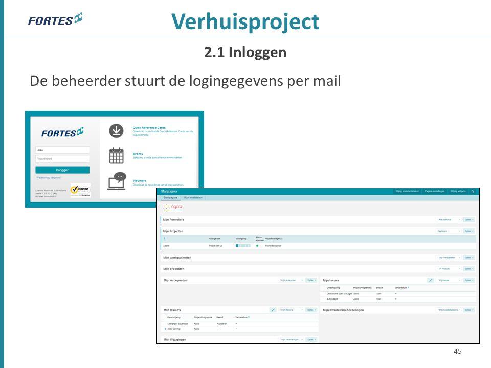 2.1 Inloggen Verhuisproject De beheerder stuurt de logingegevens per mail 45