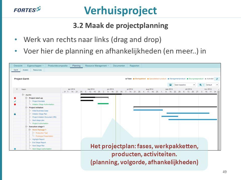 3.2 Maak de projectplanning Verhuisproject Werk van rechts naar links (drag and drop) Voer hier de planning en afhankelijkheden (en meer..) in 49 Het projectplan: fases, werkpakketten, producten, activiteiten.