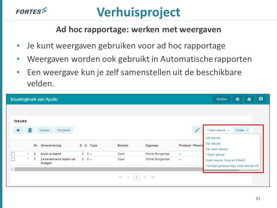 Ad hoc rapportage: werken met weergaven Verhuisproject Je kunt weergaven gebruiken voor ad hoc rapportage Weergaven worden ook gebruikt in Automatische rapporten Een weergave kun je zelf samenstellen uit de beschikbare velden.