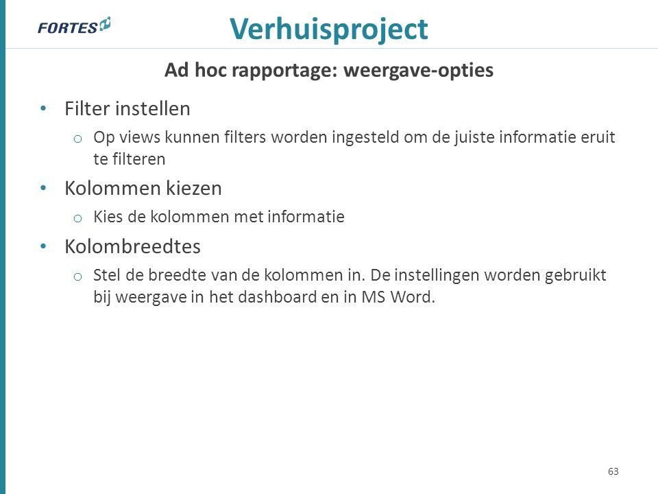 Ad hoc rapportage: weergave-opties Verhuisproject Filter instellen o Op views kunnen filters worden ingesteld om de juiste informatie eruit te filtere
