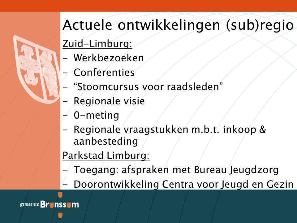 Actuele ontwikkelingen (sub)regio Zuid-Limburg: -Werkbezoeken -Conferenties - Stoomcursus voor raadsleden -Regionale visie -0-meting -Regionale vraagstukken m.b.t.