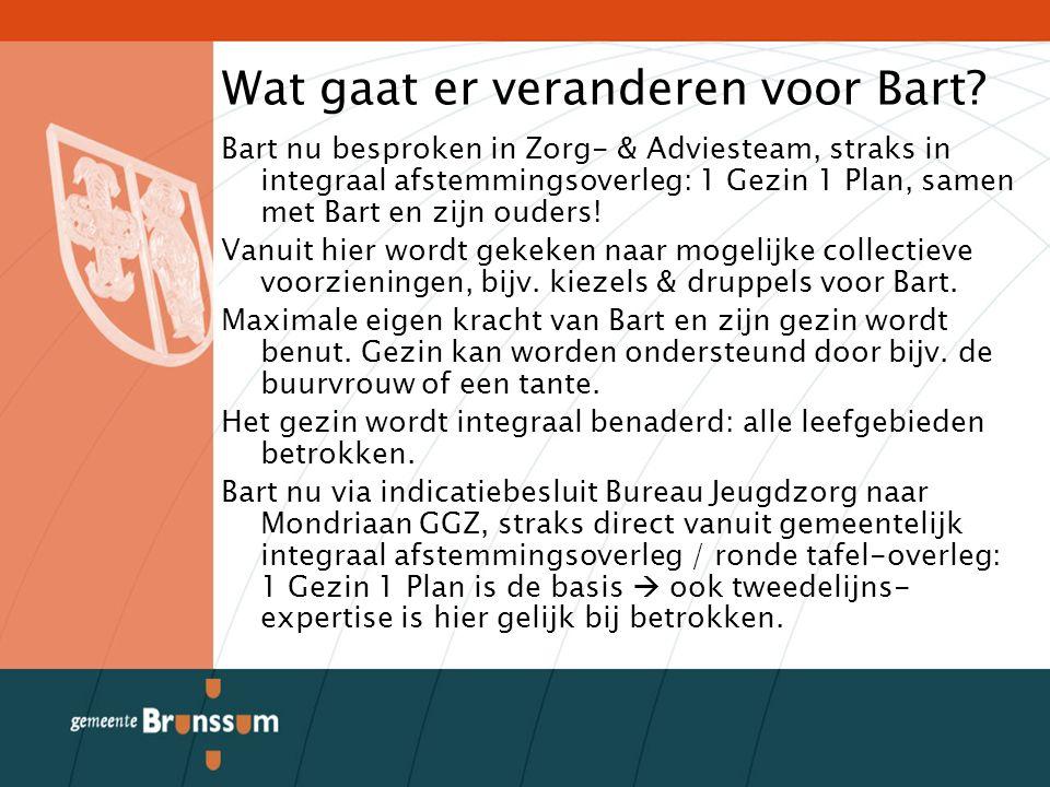 Wat gaat er veranderen voor Bart? Bart nu besproken in Zorg- & Adviesteam, straks in integraal afstemmingsoverleg: 1 Gezin 1 Plan, samen met Bart en z