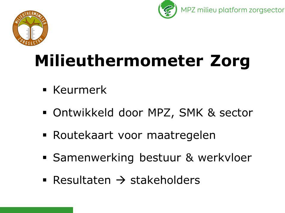Milieuthermometer Zorg  Keurmerk  Ontwikkeld door MPZ, SMK & sector  Routekaart voor maatregelen  Samenwerking bestuur & werkvloer  Resultaten 