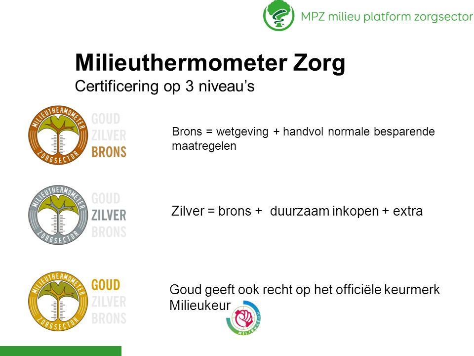 Brons = wetgeving + handvol normale besparende maatregelen Milieuthermometer Zorg Certificering op 3 niveau's Zilver = brons + duurzaam inkopen + extr