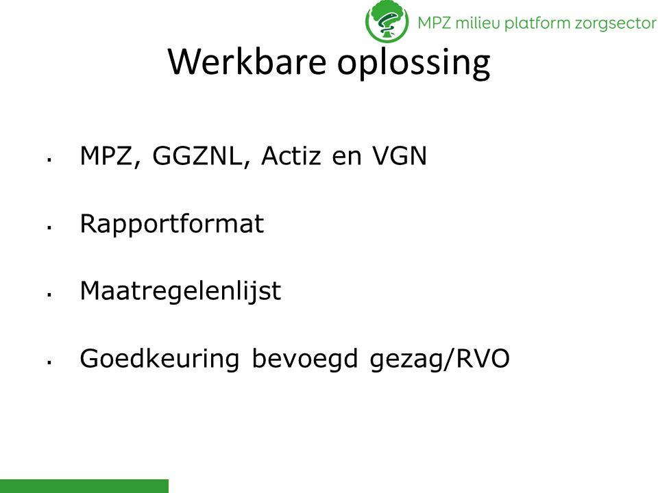 Werkbare oplossing  MPZ, GGZNL, Actiz en VGN  Rapportformat  Maatregelenlijst  Goedkeuring bevoegd gezag/RVO