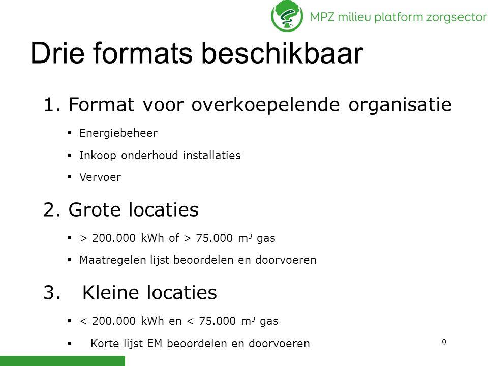 9 Drie formats beschikbaar 1. Format voor overkoepelende organisatie  Energiebeheer  Inkoop onderhoud installaties  Vervoer 2. Grote locaties  > 2