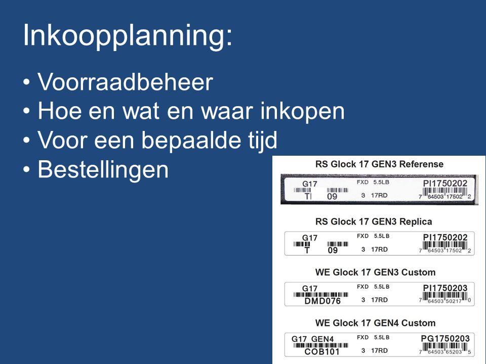 Inkoopplanning: Voorraadbeheer Hoe en wat en waar inkopen Voor een bepaalde tijd Bestellingen