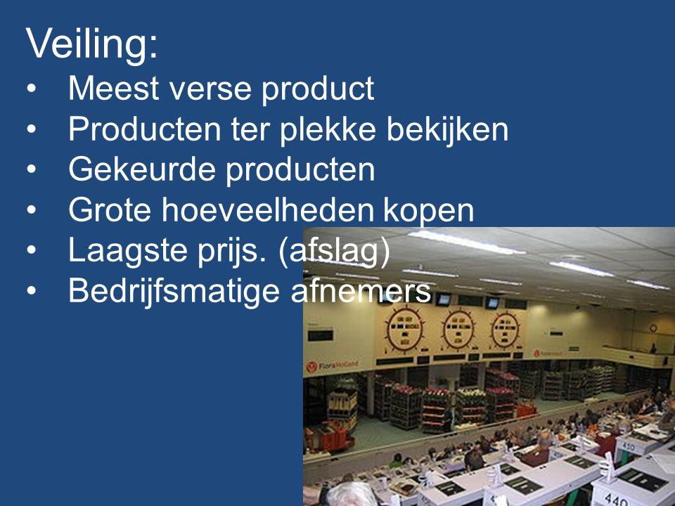 Veiling: Meest verse product Producten ter plekke bekijken Gekeurde producten Grote hoeveelheden kopen Laagste prijs. (afslag) Bedrijfsmatige afnemers