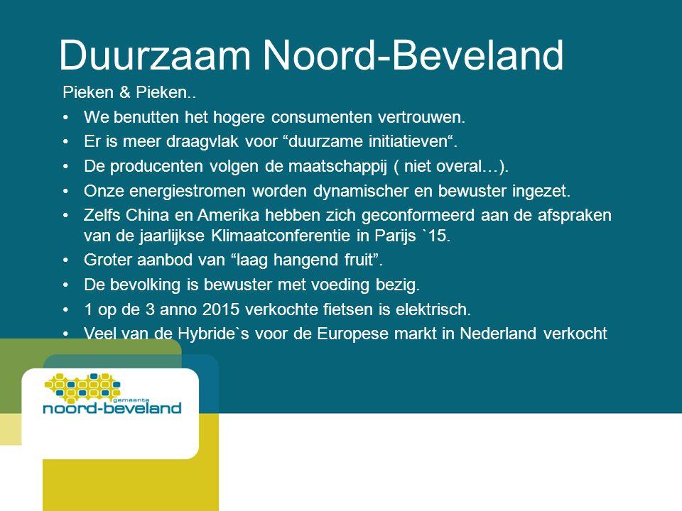Duurzaam Noord-Beveland Pieken & Pieken.. We benutten het hogere consumenten vertrouwen.