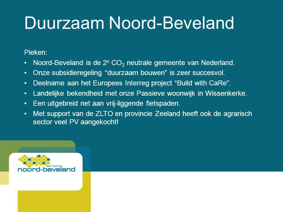 Duurzaam Noord-Beveland Pieken: Noord-Beveland is de 2 e CO 2 neutrale gemeente van Nederland.