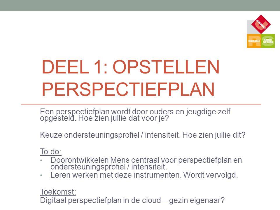 DEEL 1: OPSTELLEN PERSPECTIEFPLAN Een perspectiefplan wordt door ouders en jeugdige zelf opgesteld. Hoe zien jullie dat voor je? Keuze ondersteuningsp