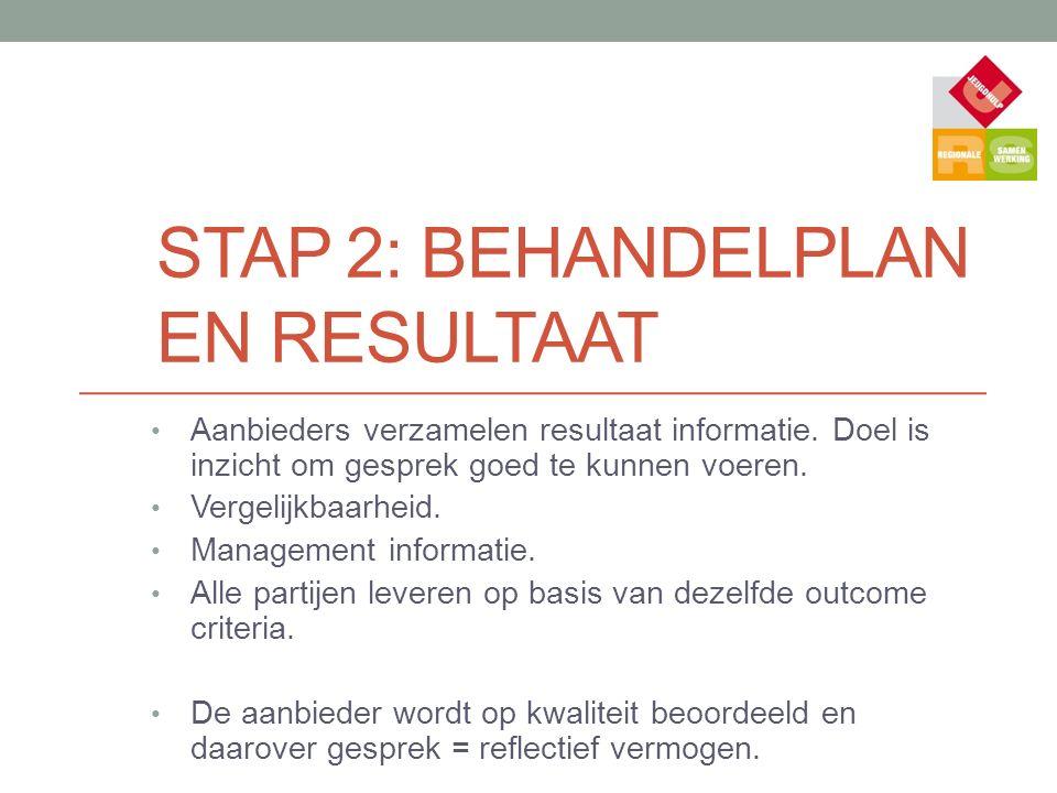 STAP 2: BEHANDELPLAN EN RESULTAAT Aanbieders verzamelen resultaat informatie. Doel is inzicht om gesprek goed te kunnen voeren. Vergelijkbaarheid. Man