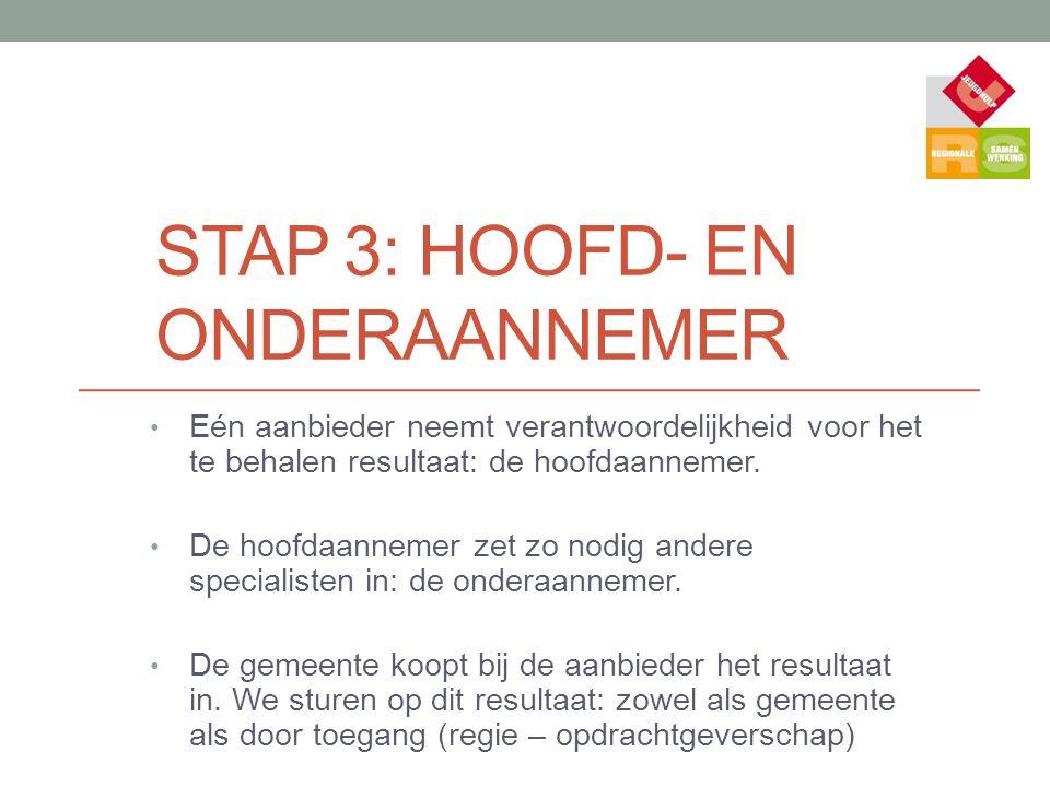 STAP 3: HOOFD- EN ONDERAANNEMER Eén aanbieder neemt verantwoordelijkheid voor het te behalen resultaat: de hoofdaannemer.