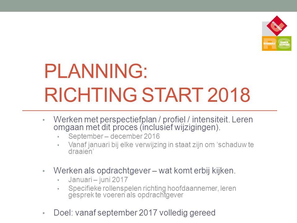 PLANNING: RICHTING START 2018 Werken met perspectiefplan / profiel / intensiteit. Leren omgaan met dit proces (inclusief wijzigingen). September – dec