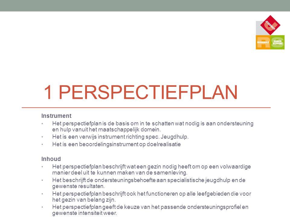 1 PERSPECTIEFPLAN Instrument Het perspectiefplan is de basis om in te schatten wat nodig is aan ondersteuning en hulp vanuit het maatschappelijk domei