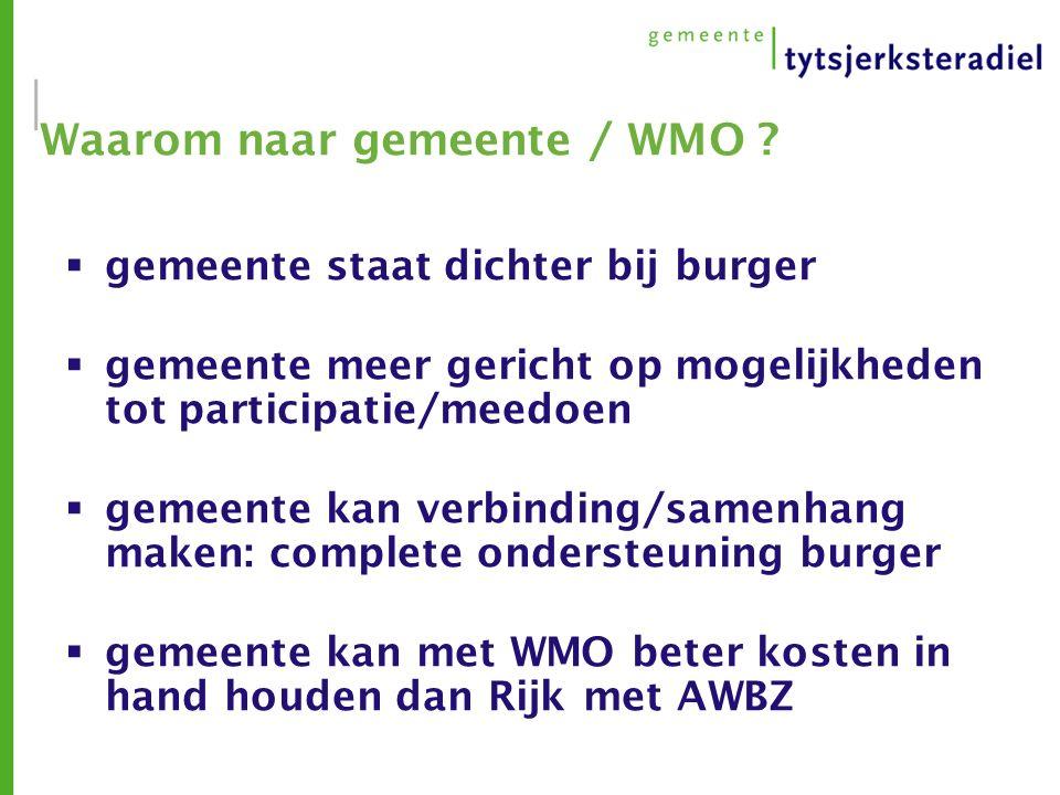 Waarom naar gemeente / WMO .