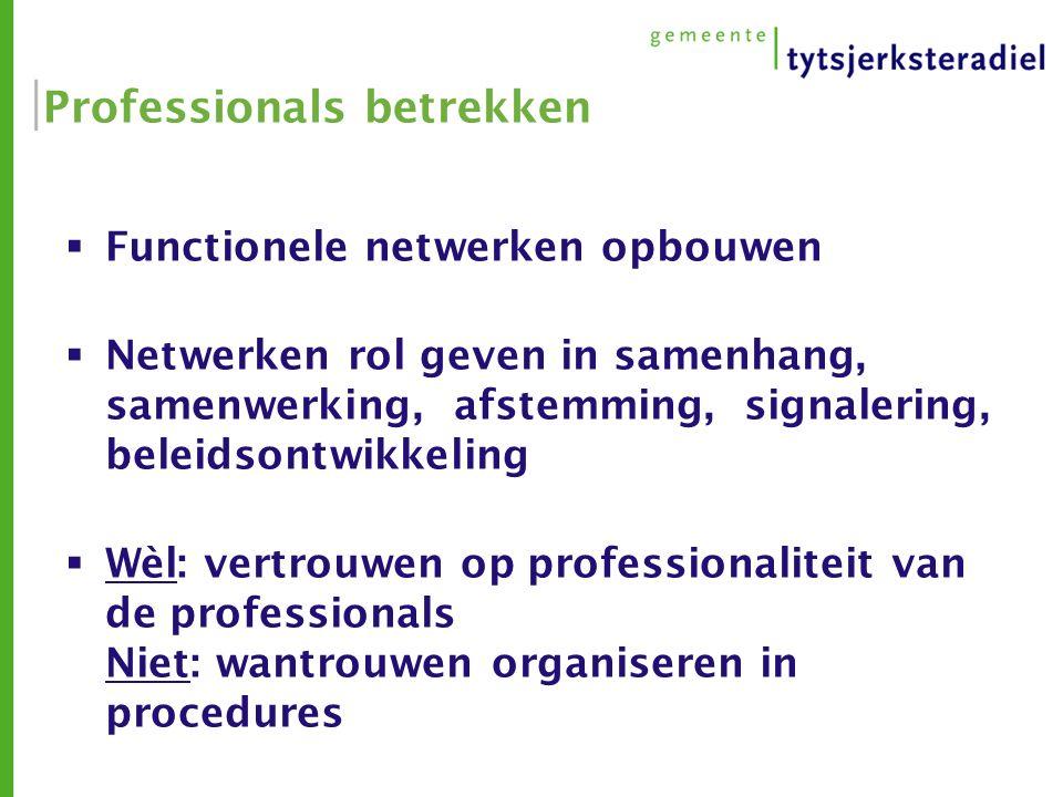 Professionals betrekken  Functionele netwerken opbouwen  Netwerken rol geven in samenhang, samenwerking, afstemming, signalering, beleidsontwikkeling  Wèl: vertrouwen op professionaliteit van de professionals Niet: wantrouwen organiseren in procedures