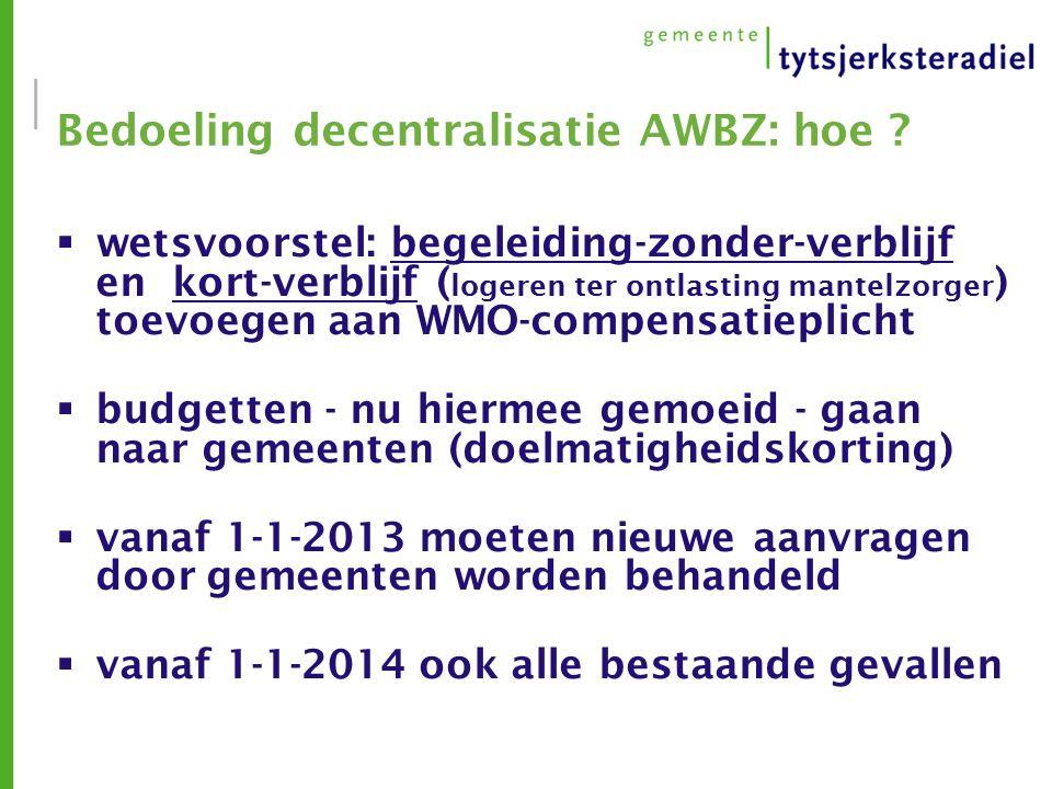 Bedoeling decentralisatie AWBZ: hoe .